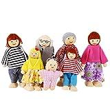 Profun 7-köpfige Puppenfamilie Kinder Puppe Spielzeug für Mädchen Fröhliche Familie Puppenset