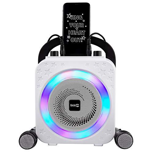RockJam Macchina per karaoke Bluetooth ricaricabile da 10 watt con due microfoni, effetti di modifica della voce e luci a LED