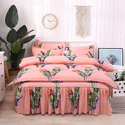 SXCYU Thicken huidvriendelijke dekbedovertrekset vierdelige superzachte plant kasjmier bed rok stijl bed sets, 1, laken (1 stuks)