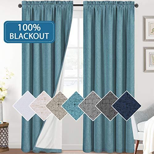 H.VERSAILTEX Bedroom 100% Blackout Curtains Textured Linen Look Room Darkening