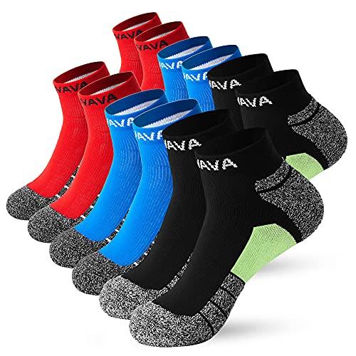 DOVAVA 6 Pares Calcetines Tobilleros Hombre,Calcetines Cortos para Deporte Running Trekking Trabajo (2 Rojo, 2 Negro, 2 Azul)
