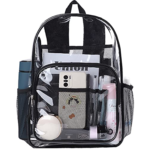 Clear Backpack Stadium Approved for Women Men Heavy Duty See Through Transparent Pvc Backpacks for School Work