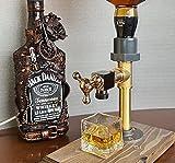Fiogavroetic Faucet Shape Revolving Liquor Dispenser Wood, Daddy Favorite Whiskey Barrel Alcohol Dispenser, Wood Wine Dispenser for Home Bar Dinner Party Restaurant Perfect GIft (Single Dispenser)