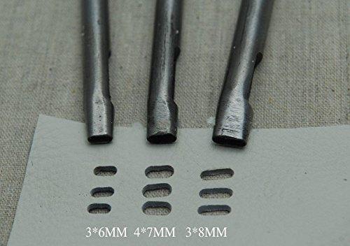 CHENGYIDA 楕円 ポンチ レザークラフト 工具 セット 皮抜き 型抜き ベルト 穴あけ ポンチ レザー クラフト 楕円 形 ポンチ パンチ 3本 セット (サイズ3x6mm, 3x8mm,4x7mm) 穴 あけ 用 DIY 工具