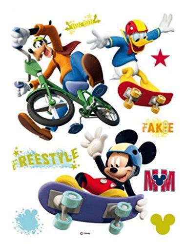 1art1 Walt Disney Sticker Adhésif Mural Autocollant - Mickey Donald Et Goofy, Freestyle (85 x 65 cm)