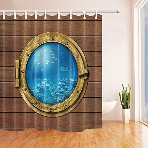 mintlmk Bathyscaph oder U-Boot-Bullauge Unterwasser-Duschvorhang Wasserdichter Polyester-Stoff Badezimmerdekorationen Badvorhänge Haken enthalten 71X71 Zoll