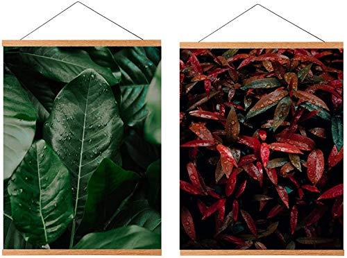 ZORR 2 Packs 30CM Holz Bilderrahmen aus Teakholz A3 für Wandbilder, Poster und Fotos magnetisch Posterleiste Posterschiene Holzrahmen Bilderleiste Klemmleiste (30CM*2)