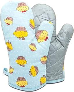 Voarge 1 para pogrubionych rękawic kuchennych, odporne na wysoką temperaturę, w wielu zabawnych wzorach, niebieskie ciasto