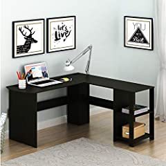 L-shaped corner computer desk saves space in home office, dorm room Material: Espresso,wood grain laminated Environmental particle board. Open shelves provide a perfect room for your binders and books, Desk Top has two grommets to organize you cords ...
