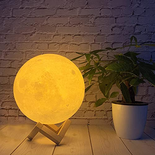 Moon Light Moon Lamp 5.9inch 3Colors Moon Night Light Moon Lamp for Bedrooms 3D Printed Moon Lamp Galaxy lamp Lava Lamp Moon Luna Lamp Personalized Moon Light Kids Night Light