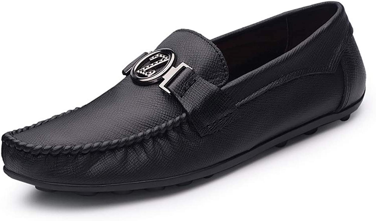 Round Head Business Top Layer Cow Leather Single shoes Men's Handmade shoes Men's Casual shoes (color   Black, Size   41)