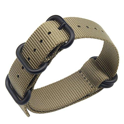 stile 22 millimetri kaki robusto esotico nylon morbido polso banda vigilanza del wristband uomini di sport