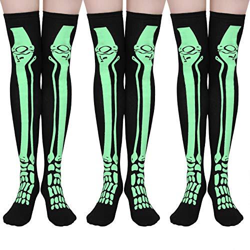 Elcoho Halloween Skelett über dem Knie Oberschenkelhohe Socken Tube Strumpf Glow in the Dark für Cosplay - Schwarz - Einheitsgröße