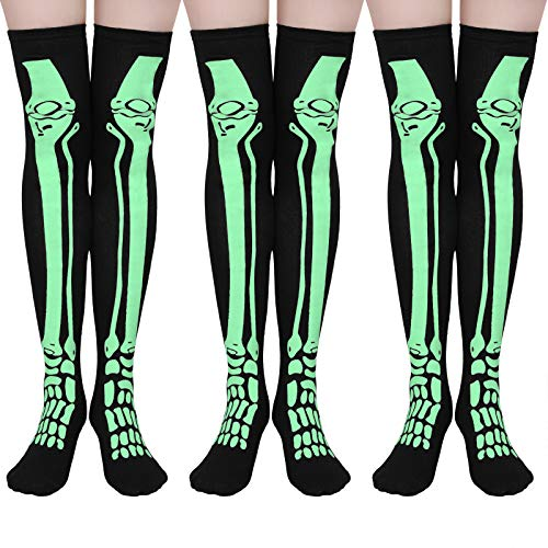 Elcoho Halloween Skeleton over The Knee Thigh High Socks Tube Stocking Glow in The Dark for Cosplay