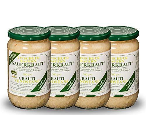 4 Gläser Vinschgauer Sauerkraut, 700 Gr, das beste Kraut Südtirols, fein gewürzt, natürlich fermentiert und bereit zum verkosten
