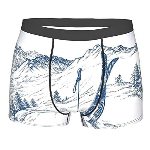 Dachangtui Herrenunterwäsche,Skizzenhafte Grafik eines Hügels mit Skielementen im Schnee Relax ruhige Aussicht,Boxershorts atmungsaktiver Komfort Unterhose Größe XL