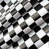 Redodeco Adhesive White Black Mosaic Backsplash Tiles Gloss Vinyl Film Kitchen Countertop Peel Stick Wallpaper Shelf Liners 17.7inx100inch Roll