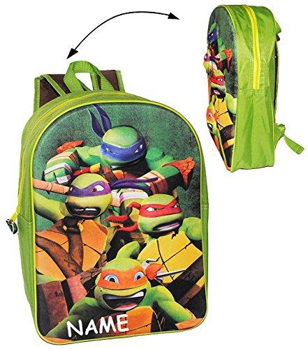 alles-meine.de GmbH 3D Effekt ! __ großer Rucksack - Teenage Mutant Ninja Turtles - inkl. Name - Tasche für Kinder - wasserfest & beschichtet - Kinderrucksack - Hero Turtle / gro..