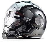 HengYue Casco De Moto Casco Integral Retro Iron Man Locomoto
