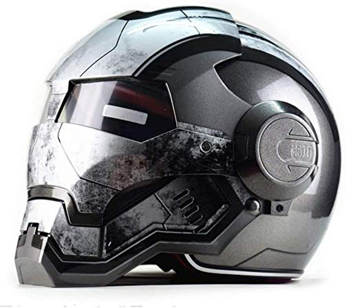 Motorradhelm Iron Man Retro Integralhelm Offroad-Lokomotive Dumm Schwarz Sturzhelm Cruiser City Scooter Helm,S