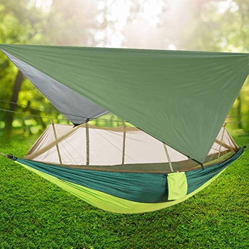 TOPCHANCES Ultralight Portable Camping Hammock with Mosquito Net & Rainfly Tent Tarp & Tree Straps Portable Single & Double Parachute Hammock Bed for Outdoor, Hiking, Backpacking, Travel (#1)