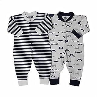 Papillon Mustache-Pattern and Striped Bodysuit Set for Boys - 2 Pieces