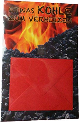 PremiumLine Gutscheinkarte mit Geldkuvert 11,5 x 17,5 cm Geldkarte - etwas Kohle zum verheizen - Glückwunschkarte mit farbigem Umschlag