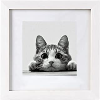BOJIN 10x10 Picture Frames White Matted 8x8 Frames with Wooden Square Photo Frame Poster Frame for Wall Hanging Home Decoration