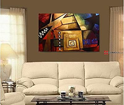 Framed Multi Color Abstract Maze Wall Art Oil Painting 1 Piece