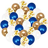 Royal Blue Balloons and Navy Gold White Balloons -Pack of 50, Navy and Gold Balloon Arch Kit | Navy Blue Balloon Garland | Metallic Dark Blue Balloons for Birthday Decorations Baby Shower Graduation
