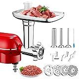 PHISINIC Accesorio picador de carne compatible con robots de cocina PHISINIC y KitchenAid, con 4 platos de moler, 2 cuchillas de moler, 3 tubos de relleno de salchichas