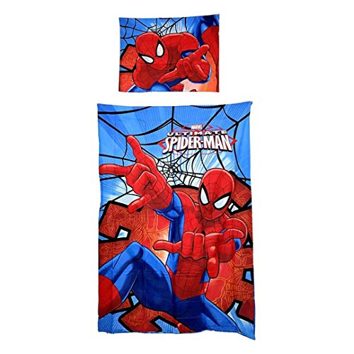 Spiderman - Parure da letto – Copripiumino reversibile 155 x 200 cm + federa 50 x 80 cm microfibra – Oeko-tex