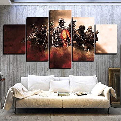 GIRDSS Cuadros Decoracion Salon Modernos Juego de 5 Piezas Personajes Cartel Battlefield Call of Duty Rainbow Six Lienzo Pintura Arte de la Pared para la decoración del hogar Regalo Creativo