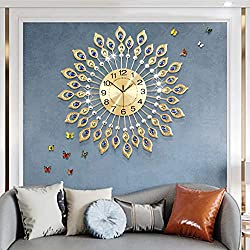 Fleble Luxury 3D Gold Large Wall Clock Non Ticking Silent 26.3 inch Metal Dial Round Diamonds Clocks Living Room Bedroom Home Decor Perfect for House Warming Gift