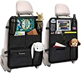 Tsumbay Backseat Car Organizer, Kick Mats Back Seat Protector with Touch Screen Tablet Holder, Car Backseat Organizer for Kids Durable Waterproof Travel Accessories with 14 Storage Pockets (2 Pack)