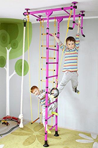NiroSport FitTop M1 Indoor Klettergerüst für Kinder Sprossenwand für Kinderzimmer Turnwand Kletterwand, TÜV geprüft, kinderleichte Montage, max. Belastung bis ca. 130 kg (Rosa)