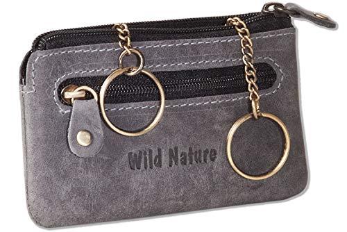 Wild Nature® Leder-Schlüsseltasche mit 2 Schlüsselketten aus weichem, naturbelassenem Büffelleder in Anthrazit/Vintage-Look, Schwarz