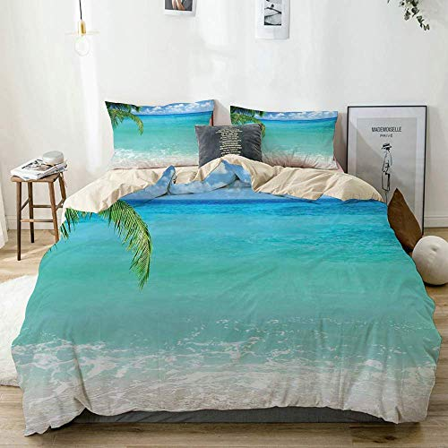 Bettbezug Set Beige, Exotischer Libanon Strand Panoramablick auf das Meer mit sauberem Wasser und blauem Himmel, Dekoratives 3-teiliges Bettwäscheset mit 2 Kissenbezügen Pflegeleicht Antiallergisch We