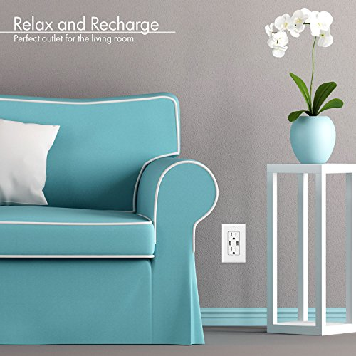 USB Wall Outlet LG 15A TR Receptacle White Compatible Samsung Galaxy S9//S8//S7//S6 for iPhone XS//MAX//XR//X//8//7//6s//Plus iPad TOPGREENER 3.1A USB Outlet HTC and more 2-Pack Note9//8//7 and more