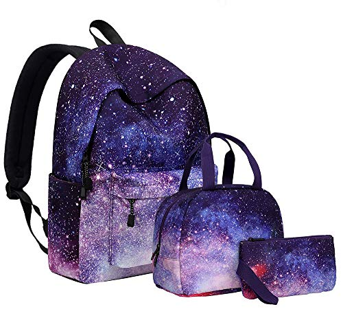 Starry Sky,Backpack Three-Piece Suit,15.6 Inch Large Lightweight College High School Bag,Water-Repellent Rucksack Multi-Compartment Secondary School Bag