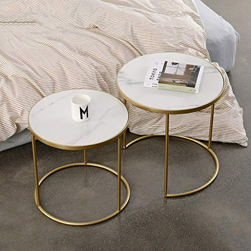 XWZJY Kleines Nest von Tischen, Eck-Couchtisch, 2 Stück Überlappende Endetabellen für Balkon Schlafzimmer, 41 x 41 cm + 46 x 45 cm (Ø x H)