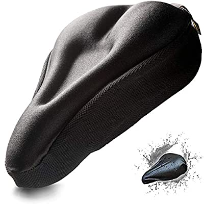 Gel Bike Seat Cushion Cover Women Men Comfort Soft Peloton Seat Covers Stationary Spin Exercise Bicycle Seat Padded Cushion Cover Pad Road Cycling Indoor Cycle Both Waterproof Rain Cover Fits Narrow