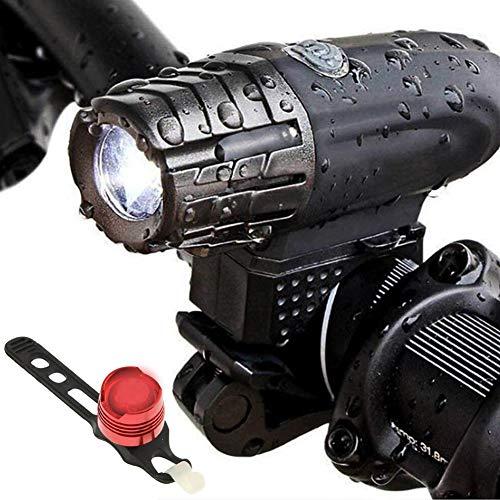 Greetuny USB Wiederaufladbare Fahrradlicht Set, IP65 wasserdichte Fahrradbeleuchtung Frontlicht-Rücklicht-Kombination Mit 4 Modi Super Bright LED Radfahren Taschenlampe,Black/b