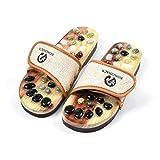 Romonacr Massage Slippers Foot Massager Shoes Shiatsu Relax Sandals with Natural Cobblestone Stones (XXL(Women 9/Men 8))