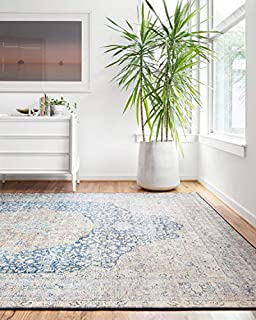 """Loloi ll Layla Collection Printed Vintage Persian Area Rug 9'0"""" x 12'0"""" Blue/Tangerine (B07K1NF98T) 
