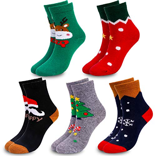 Qpout 5 Paare Unisex Weihnachtssocken Damen Mädchen Jungen Söcken, Winter Warme Elastisch Sport Socken Weihnachtsrentier,Schneeflocke,Weihnachtsbaum Socken for Weihnachts Geschenk Mitgebsel