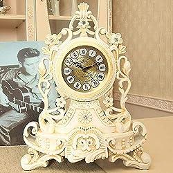 UWY Mantel Clocks, European Clock Creative Mute Clock Personality Sitting Clock Living Room Big Pendulum Quartz Decorative Table Clock (28 22 12.5cm) Mantel Clocks,A
