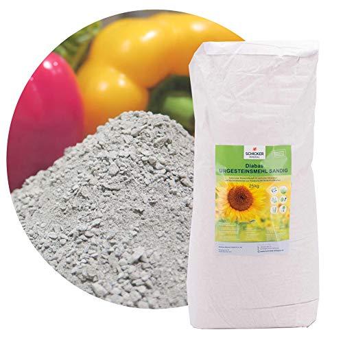 sandiges Diabas Urgesteinsmehl 25kg von Schicker Mineral, Lava Gesteinsmehl 0-2 mm versorgt Ihren Garten und Boden natürlich mit Mineralien, 100% Naturprodukt, Bodenhilfsstoff Fibl gelistet