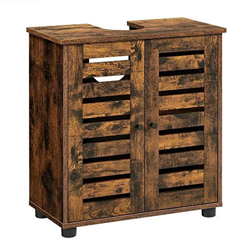 VASAGLE Mueble Lavabo, Mueble baño, Armario Lavabo, 60 x 30 x 60 cm, con 2 Puertas de persiana, una balda Ajustable, Marrón Rústico BBK111X01