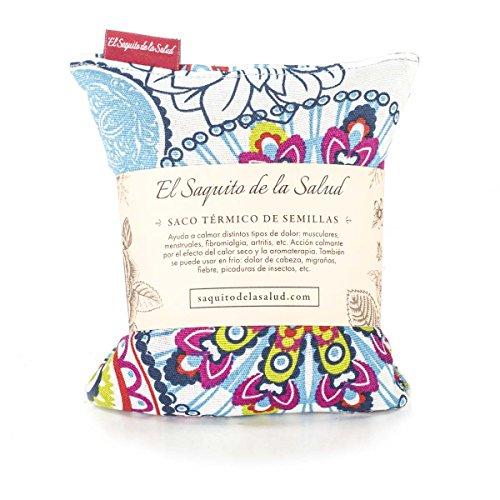 Saco Térmico de Semillas aroma Lavanda, Azahar o Romero tejido Flores Multicolor (Lavanda, 23_cm)